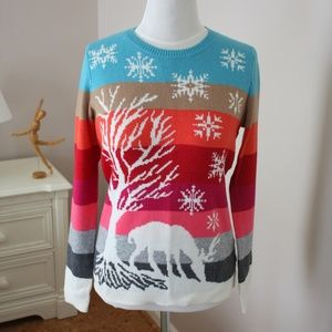 TALBOTS striped winter snowflake deer sweater